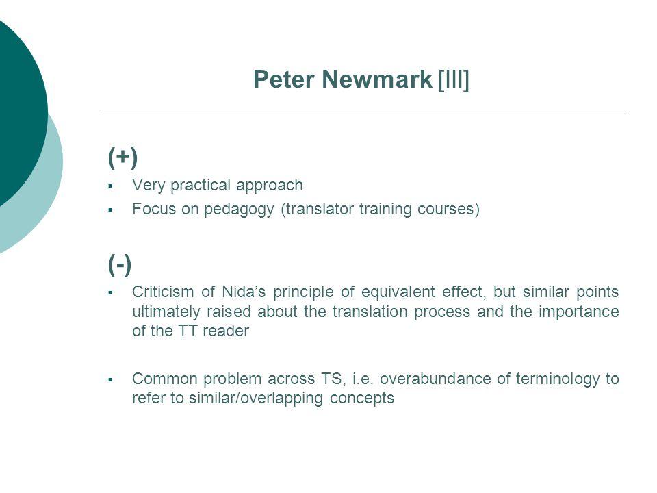 Peter Newmark [III] (+) (-) Very practical approach